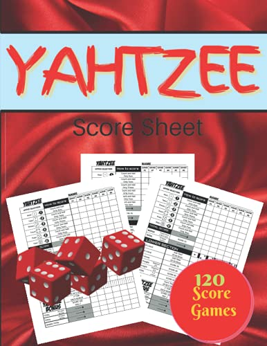 Yahtzee Score Sheets 120 score games: Score Sheets for Scorekeeping Large Print 8.5