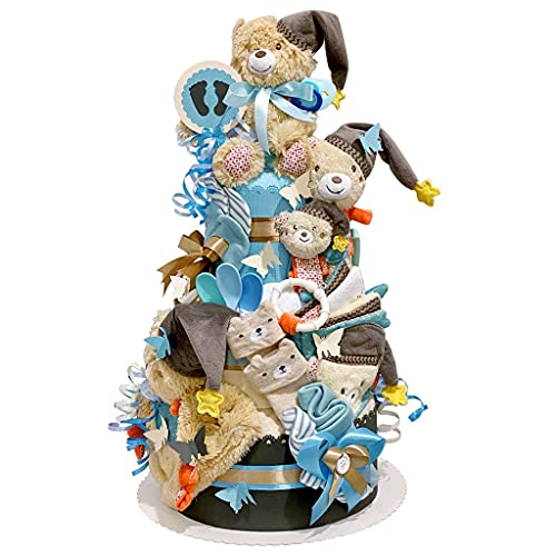 MomsStory – Tarta de pañales para niño   Oso de peluche Bruno   Regalo de bebé para nacimiento, bautizo, baby shower   3 pisos (marrón-azul) XXL grande   con babero y mucho más