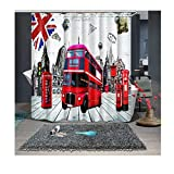 AnazoZ Duschvorhang England Bus Badewannevorhang Wasserdicht Anti-Schimmel inkl. 12 Vorhanghaken für Badezimmer Wohnaccessoires Set Badewanne 200x180cm