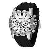 Time100 Fashion Reloj Pulsera de curazo cronógrafo para Hombre, con Funciones Diferentes, Correa de Silicona Color Negro