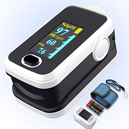 Sale!! Pulse oximeter fingertip with Plethysmograph and Perfusion Index, Portable Blood Oxygen Satur...