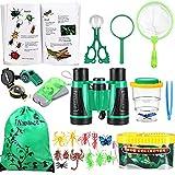 Nabance - Kit de exploración infantil de 25 piezas con lupa manual sobre insectos, brújula, redes de mariposas, mochila para niños, niñas, camping, senderismo