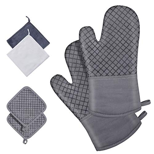 APOPTEX Oven Mitts and Pot Holders Sets, 500℉ Heat Resistant and Food Grade Silicone Gloves with Kitchen Towels, Non-Slip Surface & Recycled Cotton Lining, for Cooking/ Baking/ BBQ (6cps, Grey)