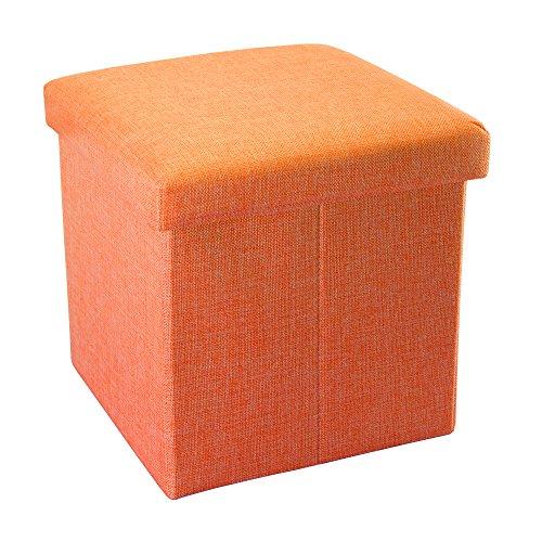 Intirilife Puff Baúl Plegable 30x30x30 cm in Naranja