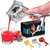 Zulay Fruit Manual Juicer- Heavy Duty Juice Press Squeezer with Detachable Lever & Removable Strainer - Fruit Press & Hand Juicer For Pomegranates, Lemons, Oranges, and More (Silver)