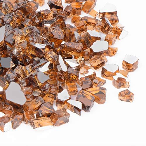 SHINESTAR Feuerglas 6,8 kg, 1,27 cm, Glas-Feuerstelle für Feuerstelle, Gaskamin, Kupfer reflektierend, gehärtetes Feuerglas, funkeln und glänzend