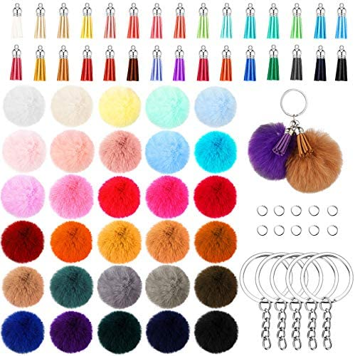 150 Pieces Pom Pom Keychain Fluffy Faux Fur Pompoms Keychain with Tassels and Keyrings for Bag product image