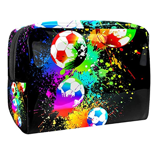 Maquillage Cosmetic Case Multifunction Travel Toiletry Storage Bag Organizer for Women - Aquarelle Soccer Sports Ball