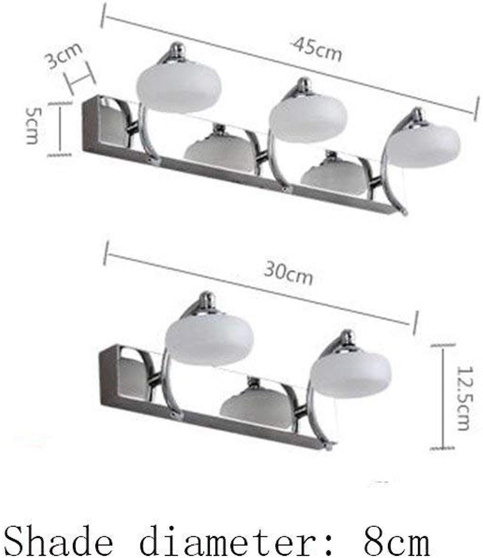 JQD Hauptbadezimmer-Spiegel-Scheinwerfer-Edelstahl-doppelter Kopf DREI geführte Scheinwerfer-moderner Badezimmer-Spiegel Spiegel-Kabinett Wand-Lampe kosmetischer Spiegel (30Cm-10W, 45Cm-15W)