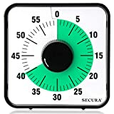 Secura Kitchen Timer 60-Minute Mechanical Visual Timers for Cooking, 7.5-Inch Oversize Countdown Clock for Teaching, Meeting, Facial with Magnetic Backing, Collapsible Legs, Hanging Hole (Green)