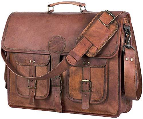GNG - Aktentasche aus Leder Laptoptasche 16 Zoll Handmade Messenger Bags Best Satchel