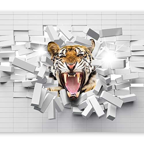 murando Papier peint intissé 250x175 cm Décoration Murale XXL Poster Tableaux Muraux Tapisserie Photo Trompe l'oeil animaux brique tiger murale g-B-0009-a-a