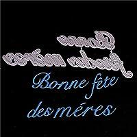 Diyスクラップブッキングのためのフランス語の金属切削ダイダイカット2018紙カードのための新しいカットクラフトを幸せな母の日にする