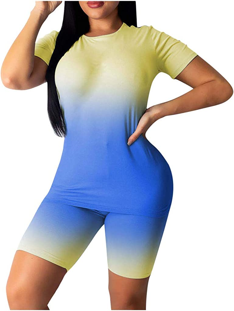 2 Piece Outfits for Women,Womens Workout Outfit Sports Suit Athletic Tracksuit Shorts Slim Fit Yoga Clothes Set