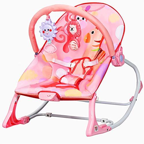GOPLUS 3 in 1 Multifunktionale Babywippe mit 3-stuffiger Einstellung, Babywiege mit Spielsachen & Vibration & Melodien, abnehmbarem Spielbogen und Sitzbezug, Belastbar bis 18 kg (Rosa)