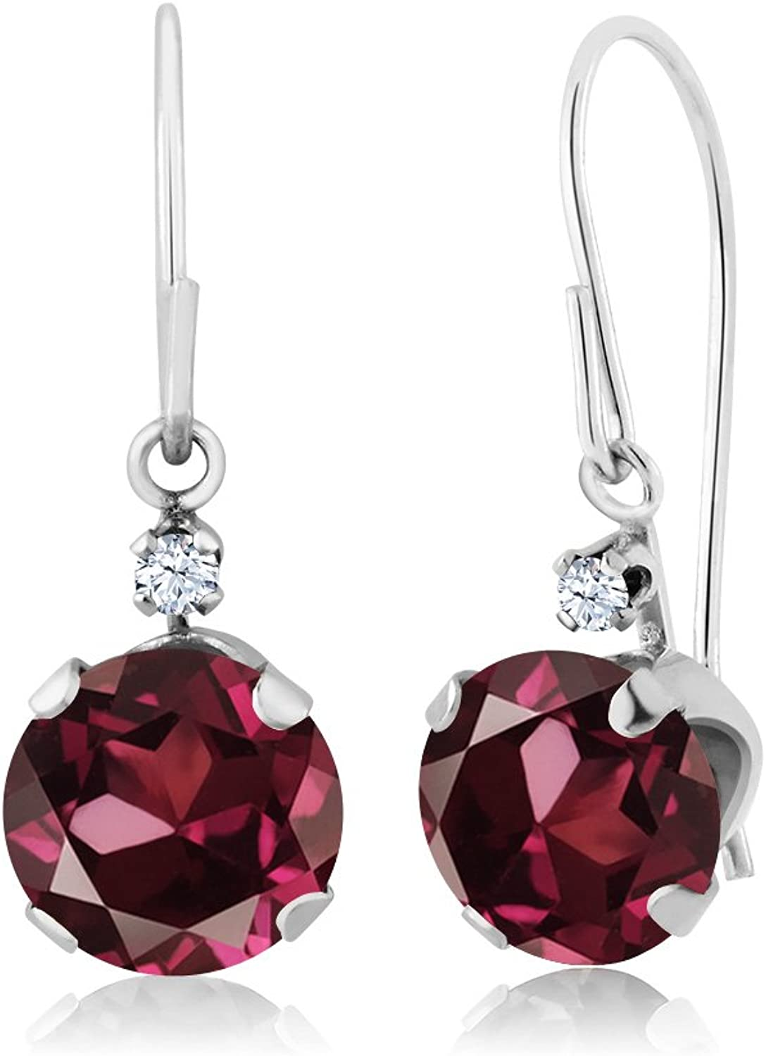 2.03 Ct Round Red Rhodolite Garnet 14K White gold Earrings