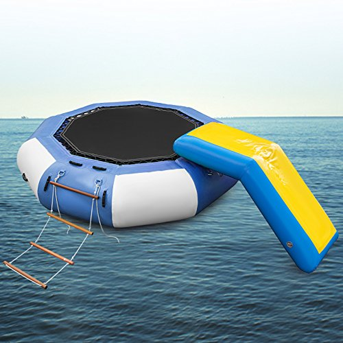 Popsport Inflatable Water Trampoline Series Splash Padded Water Bouncer Inflatable Bouncer Jump Water Trampoline Bounce Swim Platform for Water Sports (Blue Slide 10Ft)