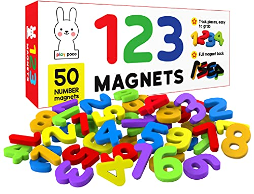 PLAY POCO 123 Magnetic Numbers – Count 1 To 30 – Ideal For Number Sequencing & Learning – Child Safe Foam Alphabets With Full Magnet Back, Red, 26x10x4cm