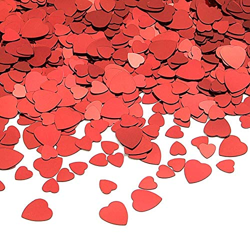 MIMORE 80g Red Heart Table Confetti PVC Red Heart Sparkle Confetti for Wedding/Valentine's Day