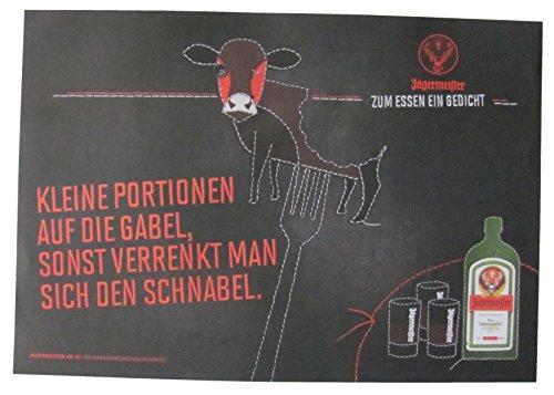 Jägermeister - Platzdeckchen aus Papier 38,5 x 26,8 cm - Kleine Portionen auf die Gabel, sonst verrenkt Man Sich den Schnabel