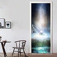 ドアステッカー 自己粘着印刷画像クリエイティブドアインテリアプラネットステッカーローズフラワー防水3D壁画の改修デカールのためにリビングルーム (Size : 95x215cm)-77x200cm