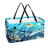 Bolsa de supermercado reutilizable, cesta de la compra grande, carteles de bolsa de almacenamiento de 50 l para el ecosistema marino