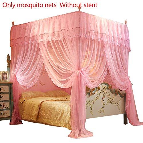 Yunt Moskitonetz Viereckiges Mückennetz für Doppelbetten Hoche Qualität Fliegennetz Insekten Malaria Schutz Aufhängekit Himmelbett Betthimmel Vorhänge, 150 * 200cm (Ohne Halter) (Pink)
