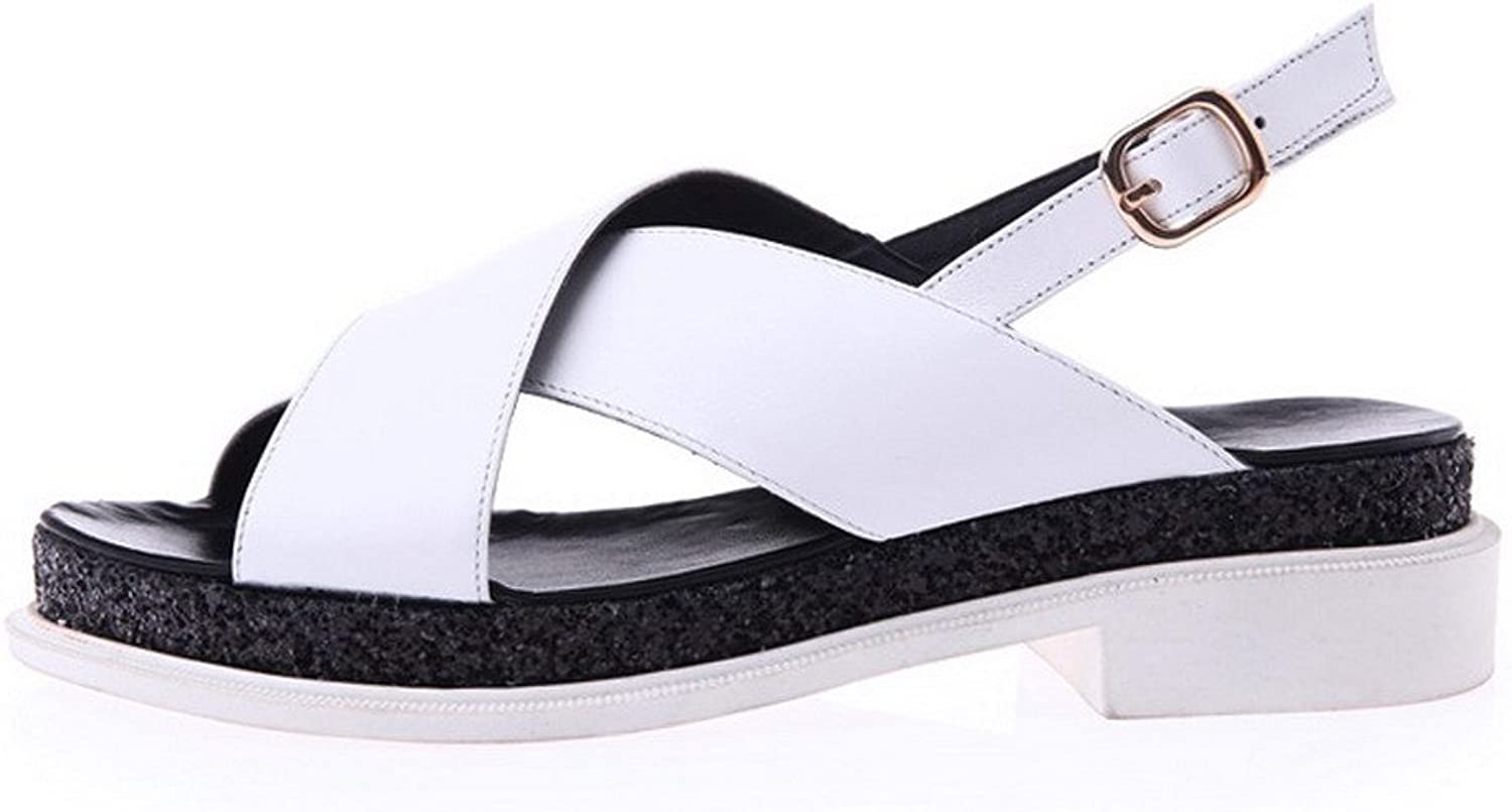 AllhqFashion Women's Open Round Toe Cow Leather Low Heels Solid Sandals with Lady Buckle and Wedge
