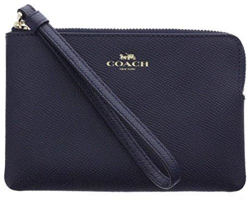 Coach Crossgrain Leather Corner Zip Wristlet, Navy