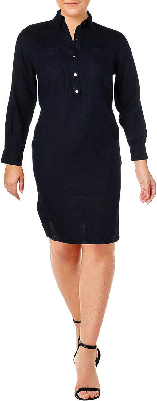 Lauren Ralph Lauren Womens Plus Linen Adjustable Sleeves Shirtdress