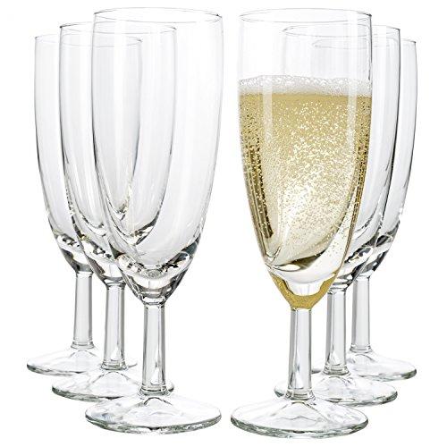 Van Well 6er Set Sektglas Royalty Standard, 18 cl, Ø 50 mm, H 160 mm, Sektflöte, Kelchglas, Champagner-u. Prosecco-Glas, Partyglas, glasklar, Gastronomie