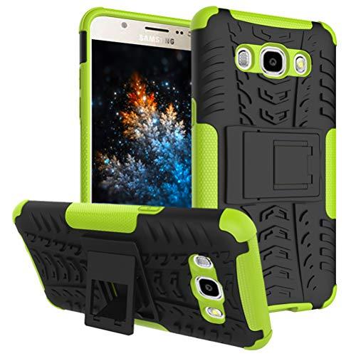 MRSTER Samsung J1 2016 Hülle, Outdoor Hard Cover Heavy Duty Dual Layer Armor Hülle Stoßfest Schutzhülle mit Ständer Handyhülle für Samsung Galaxy J1 2016. Hyun Green