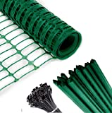 Safety Fence + 25 Steel Plant Stakes, Extra Strength Mesh Snow Fencing, Temporary Green Plastic Garden Netting 4x100 Feet Fence & 25, 4 Foot Stakes, Above Ground Barrier for Construction Dogs Plants