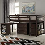 Kids Low Study Loft Bed with Cabinet and Rolling Portable Desk for Kids and Teenagers, Twin Size (Espresso)