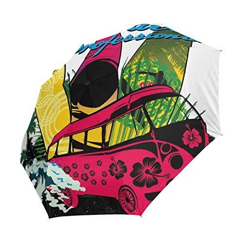Ahomy Palm Beach Surfer Faltbarer Regenschirm Regen Winddicht Automatischer Sonnenblock Kompakt Reise Regenschirme für Damen Herren
