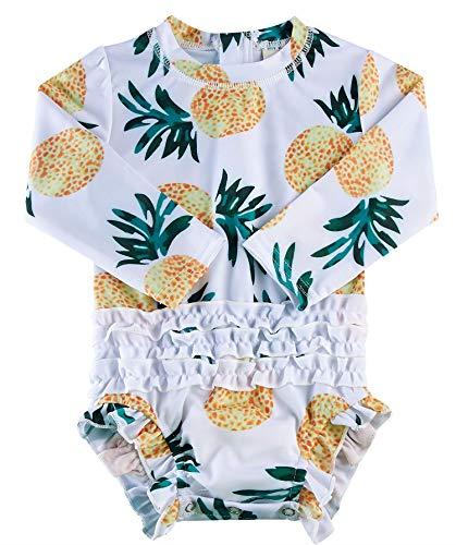 BFUSTYLE Baby Girls Pineapple Bathing Suit Hawaiian White Green Swimsuit Pineapple Rash Guard Shirts 18-24 Months