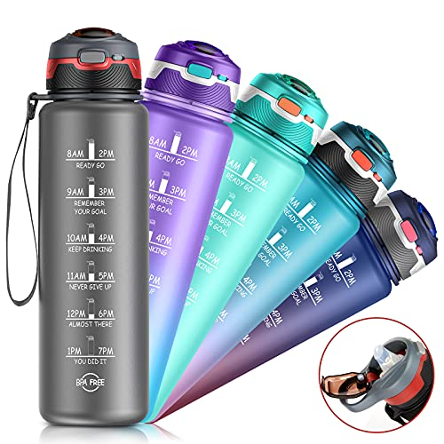 32oz Water Bottle with Time Marker & Straw, Dishwasher Safe, Leakproof, Safety Lock, No BPA, Reusable Water Jug to Ensure You Drink Enough Water Daily for Fitness, Gym, Outdoor Sports