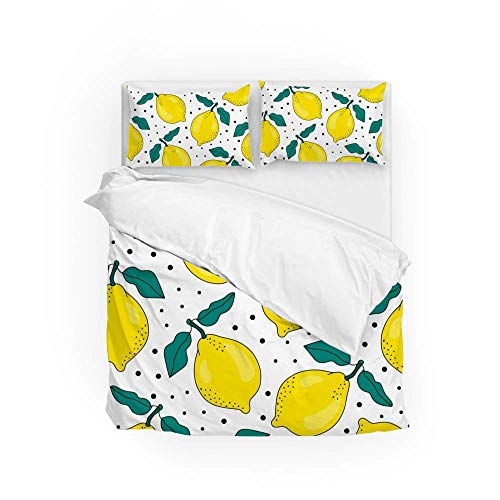 161 Soft Quilt Bedding Set Summer Lemons Duvet Cover with 2 Pillowcases Set 3 Pieces 230 x 220 CM, King