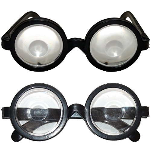 2 x Brille mit Vergrößerungsgläsern Scherzartikel Komplettbrille Lupenbrille Kunststoff Unisexbrille
