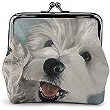 West Highland White Terrier Perro Hello Vintage Pouch Girl Kiss-Lock Cambiar Monedero Monederos Hebilla Monederos de Cuero