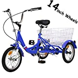 H&ZT Tricycle 1-Speed Trike Cruiser Bike 3 Wheeled Bicycle w/Large Basket and Maintenance Tools, Children's Teenagers' Men's Women's Cruiser Bicycles