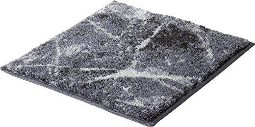 Erwin Müller WC-Vorlage ohne Ausschnitt, rutschhemmend Marmor grau Größe 50x50 cm - sehr saugfähig, schnelltrocknend, für Fußbodenheizung geeignet