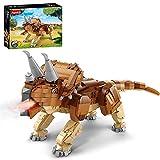 Lommer Bloques de dinosaurios, 1178 piezas de dinosaurios modulares con efecto de humo, kit de construcción compatible con dinosaurios Lego Creator - Triceratops