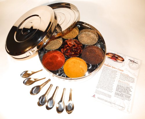 Authentic Indian Spice Box with Double Lid 24cm (Large), 7 Spice Spoons & Free Spice Guide Set 2