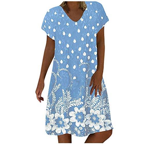 MRULIC Damen Sommerkleid Rundhals Gestreift Streifen Drucken V-Ausschnitt Mollige Lose Minikleid GroßE GrößEn RockabillyStrandkleider(A5-Himmelblau,L)