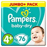Pampers - Baby Dry - Couches Taille 4+ (9-18 kg) - Jumbo+ Pack (x76 couches)