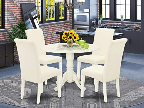East West Furniture DLBA5-WHI-01 5Pc Dining Set Includes a Small Round Dinette Table with Drop Leaves and Four Parson Chairs with Cream Fabric, Finish, Linen White