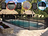 WaterWarden WWF200 4' x 12, Black – Removeable Outdoor Child Safety Inground, Easy DIY Installation with Hardware 4 Foot Pool Fence