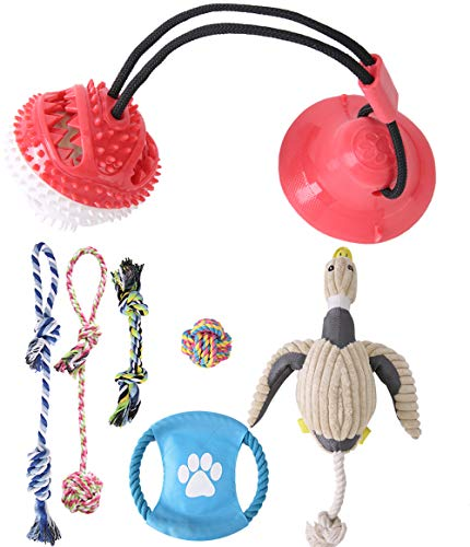 Dog Rope Chew Toys Pack - Bulk Dog Toys Bundle - Suction Cup Dog Toy for Tugging, Dog Rope Toys, Squeaky Plush Duck, 7 Pack Interactive Fetch Toys for Slightly Aggressive Chewers, Small Medium Dogs