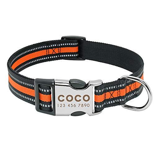 Forestpaw Personalized Dog Collar,Nylon Reflective Dog Tag Collar,Custom ID Engraved Collar for Small Medium Large,Orange,S